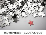 silver stars background with... | Shutterstock . vector #1209727906