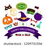 happy halloween background with ... | Shutterstock .eps vector #1209731506