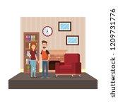 couple in livingroom place scene | Shutterstock .eps vector #1209731776