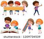 set of school children... | Shutterstock .eps vector #1209734539