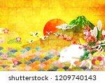 boar new year card fuji... | Shutterstock .eps vector #1209740143