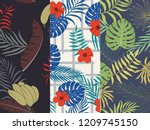 tropical background with palm... | Shutterstock .eps vector #1209745150