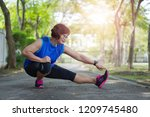 senior asian woman stretch... | Shutterstock . vector #1209745480
