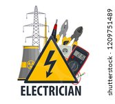 electrician professional... | Shutterstock .eps vector #1209751489