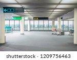 empty airport terminal plane  ... | Shutterstock . vector #1209756463
