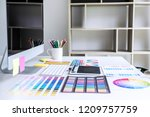 modern office workplace with... | Shutterstock . vector #1209757759