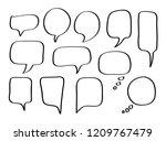 vector bubbles speech set. hand ... | Shutterstock .eps vector #1209767479