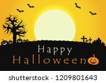 happy halloween poster with... | Shutterstock .eps vector #1209801643
