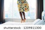happy woman wearing beautiful...   Shutterstock . vector #1209811300