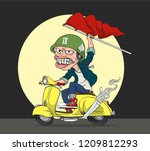 ridding on scooter | Shutterstock .eps vector #1209812293