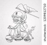 on scooter or illustration... | Shutterstock .eps vector #1209812710