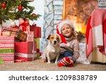 little girl child celebrating a ... | Shutterstock . vector #1209838789
