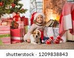 little girl child celebrating a ... | Shutterstock . vector #1209838843