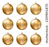 gold christmas balls isolated... | Shutterstock .eps vector #1209841870