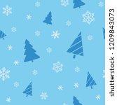 christmas seamless blue... | Shutterstock . vector #1209843073