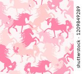 camo girls pattern with... | Shutterstock .eps vector #1209849289