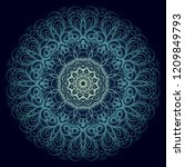 beautiful round flower mandala. ... | Shutterstock .eps vector #1209849793