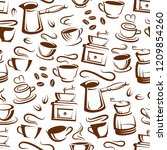 coffee seamless pattern of cups ... | Shutterstock .eps vector #1209854260