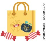 halloween tote bag isolated... | Shutterstock .eps vector #1209858670