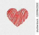 heart icon vector. hand drawn ... | Shutterstock .eps vector #1209862303