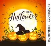 halloween background with moon... | Shutterstock . vector #1209865243