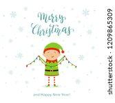 cute little christmas elf in a... | Shutterstock . vector #1209865309