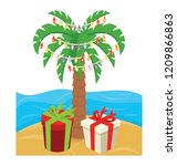 christmas palm tree icon with... | Shutterstock .eps vector #1209866863
