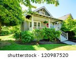 grey small house with porch and ... | Shutterstock . vector #120987520