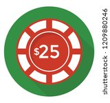 a casino chip with dollar 25 ... | Shutterstock .eps vector #1209880246