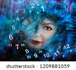 time  woman and numerology | Shutterstock . vector #1209881059