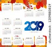 2019 calendar template   Shutterstock .eps vector #1209883819