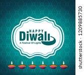 diwali design blue background...   Shutterstock .eps vector #1209885730