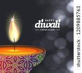 diwali design with dark... | Shutterstock .eps vector #1209885763