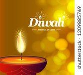 diwali design with yellow...   Shutterstock .eps vector #1209885769