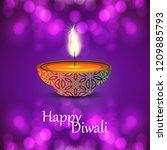 diwali design purple background ... | Shutterstock .eps vector #1209885793