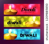 happy diwali with creative... | Shutterstock .eps vector #1209885850