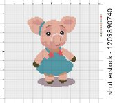 a toy pig is the symbol of 2019....   Shutterstock .eps vector #1209890740