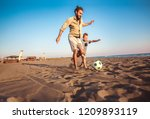 happy father and son play... | Shutterstock . vector #1209893119