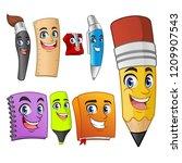 set of funny cartoon characters ... | Shutterstock .eps vector #1209907543