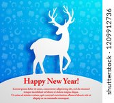 white deer silhouette on blue... | Shutterstock .eps vector #1209912736