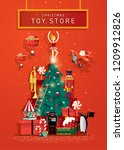 christmas greetings template... | Shutterstock .eps vector #1209912826