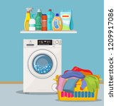 laundry room with washing... | Shutterstock . vector #1209917086