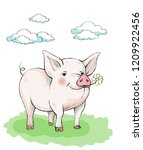 cute piglet with rosy pink... | Shutterstock .eps vector #1209922456