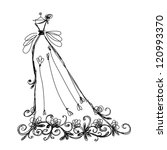 sketch of bridal dress with...   Shutterstock .eps vector #120993370