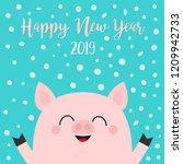 happy new year 2019. pig piggy... | Shutterstock .eps vector #1209942733