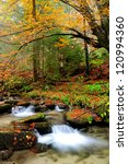 autumn river with yellow tree... | Shutterstock . vector #120994360