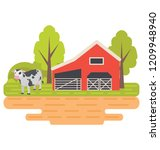 house  farmland and trees... | Shutterstock .eps vector #1209948940
