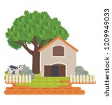 house  farmland and trees... | Shutterstock .eps vector #1209949033
