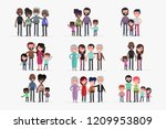 cute families isolated vector... | Shutterstock .eps vector #1209953809