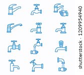faucet flat line icons. set of... | Shutterstock .eps vector #1209954940
